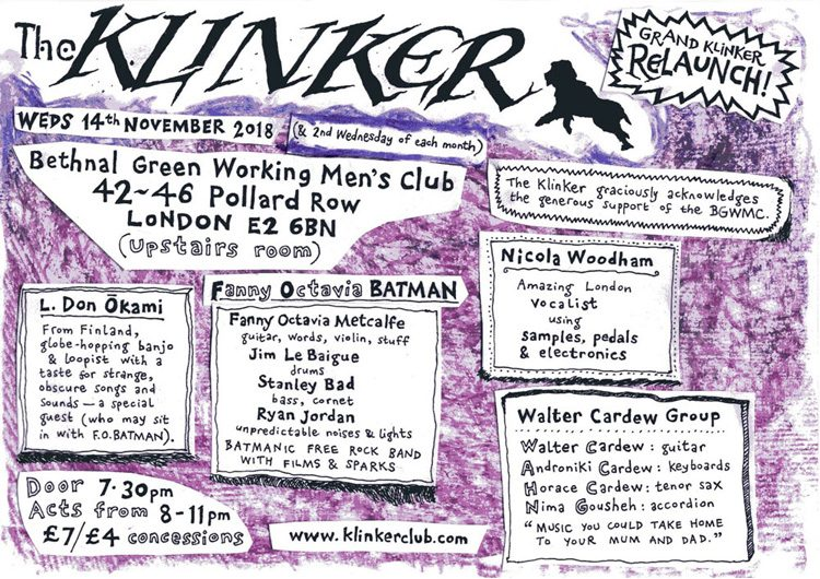 Klinker Club London relaunch November 2018 flyer