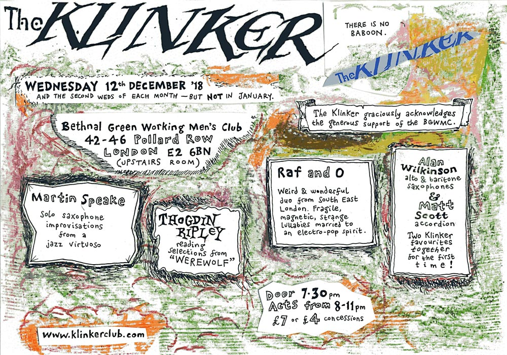 Klinker Club London December 2018 flyer