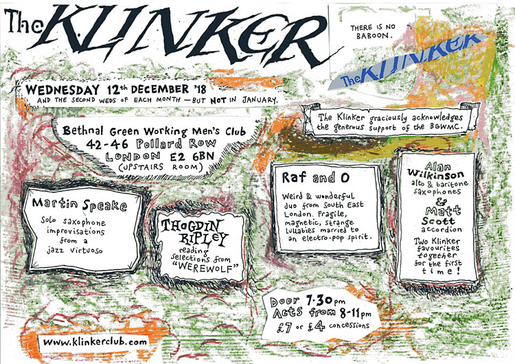 Klinker Club London flyer December 2018