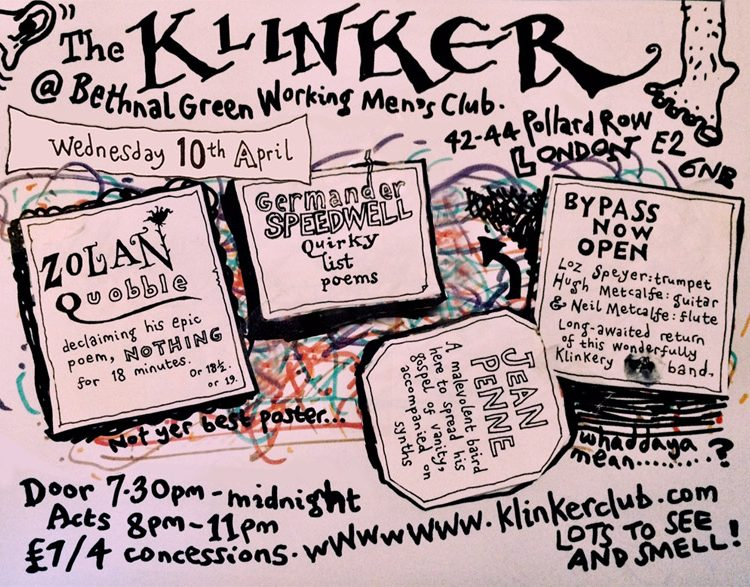 Klinker Club London flyer April 2019